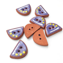 "Load image into Gallery viewer, Blue Half Oval Buttons on Red Clay - Small Geometric Ceramic Buttons with Yellow Dots - 1/2"" - 8 Pack"