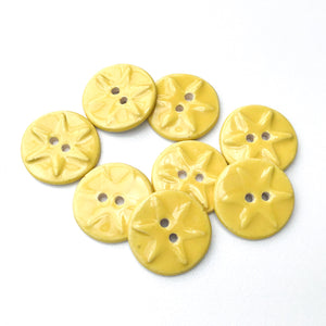 "Yellow Ceramic Buttons with Starfish Pattern - Decorative Clay Buttons - 3/4"" - 8 Pack"