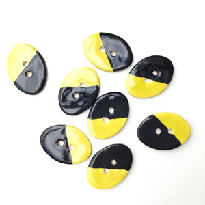 "Oval Color Contrast Ceramic Buttons - Bright Yellow + Black Clay Buttons - 5/8"" x 7/8"" - 8 Pack"