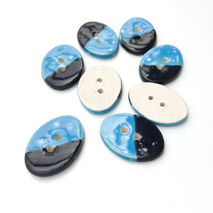 "Oval Color Contrast Ceramic Buttons - Bright Blue + Black Clay Buttons - 5/8"" x 7/8"" - 7 Pack"