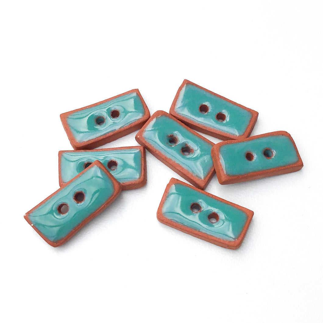 Turquoise Colored Buttons on Red Clay - Turquoise Ceramic Buttons - 3/8