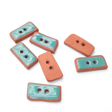 "Load image into Gallery viewer, Turquoise Colored Buttons on Red Clay - Turquoise Ceramic Buttons - 3/8"" x 3/4"" - 7 Pack"