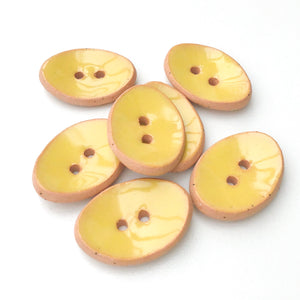 "Oval Ceramic Buttons - Light Yellow Clay Buttons - 5/8"" x 7/8"" - 7 Pack"