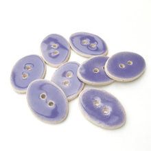 "Load image into Gallery viewer, Oval Ceramic Buttons - Light Purple Clay Buttons - 5/8"" x 7/8"" - 8 Pack"