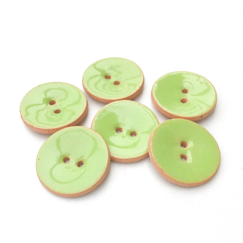 Light Green Ceramic Buttons - Lime Green Clay Buttons - 7/8