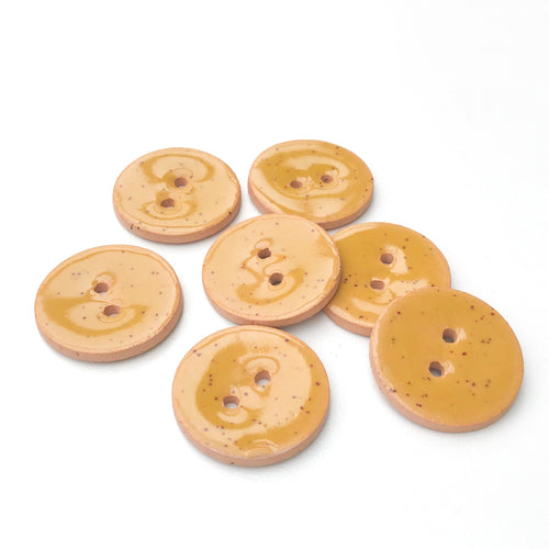 Speckled Mustard Ceramic Buttons - Mustard Yellow Clay Buttons - 7/8