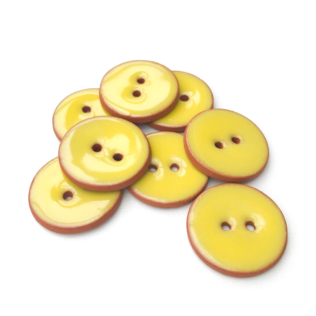 Bright Yellow Ceramic Buttons - Yellow Buttons on Red Clay - 7/8