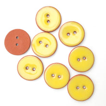 "Load image into Gallery viewer, Bright Yellow Ceramic Buttons - Yellow Buttons on Red Clay - 7/8"" - 8 Pack"