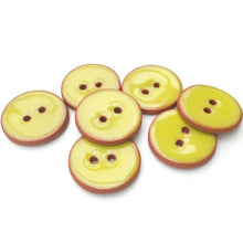 "Load image into Gallery viewer, Chartreuse Ceramic Buttons - Chartreuse on Red Clay Buttons - 7/8"" - 6 Pack (ws-42)"