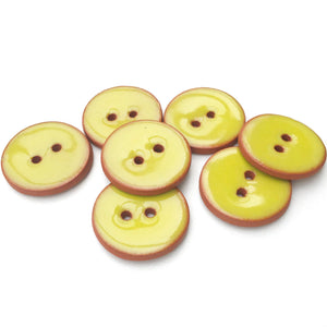 "Chartreuse Ceramic Buttons - Chartreuse on Red Clay Buttons - 7/8"" - 6 Pack (ws-42)"