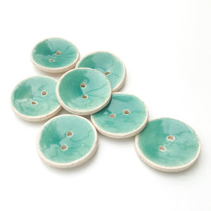 "Aqua Marine Blue Ceramic Buttons - Turquoisel Colored Clay Buttons - 7/8"" - 7 Pack"