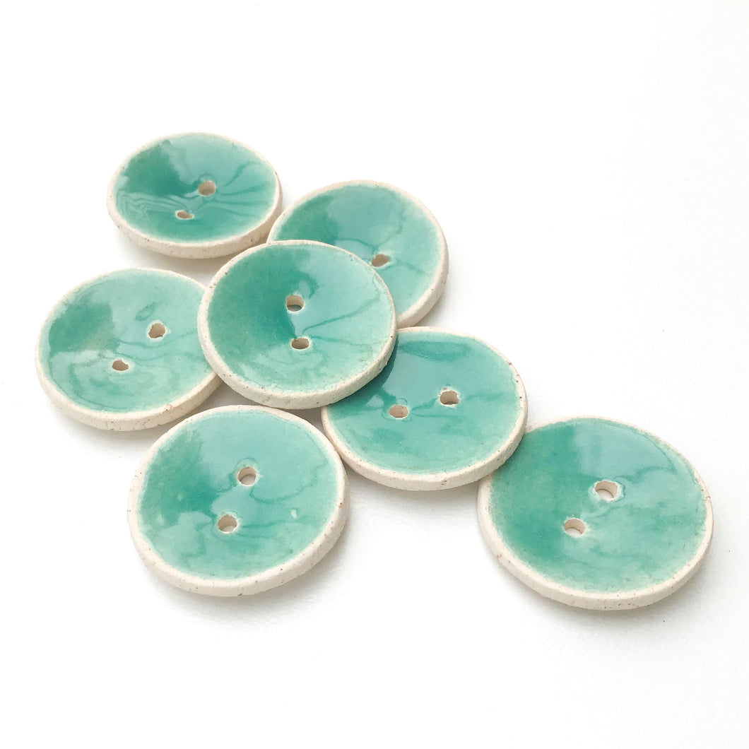Aqua Marine Blue Ceramic Buttons - Turquoisel Colored Clay Buttons - 7/8