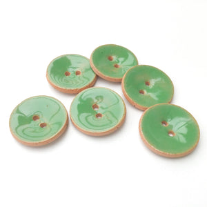 "Soft Green Ceramic Buttons - Green Clay Buttons - 7/8"" - 5 Pack"