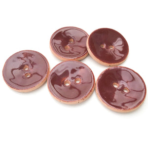 "Java Bean Brown Ceramic Buttons - Reddish-Brown Clay Buttons - 7/8"" - 5 Pack"
