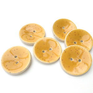 "Speckled Mustard Ceramic Buttons - Mustard Yellow Clay Buttons - 7/8"" - 6 Pack"