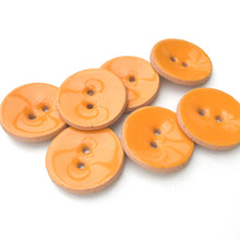 "Load image into Gallery viewer, Bright Orange Ceramic Buttons - Orange Clay Buttons - 7/8"" - 7 Pack"