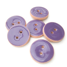 "Load image into Gallery viewer, True Purple Ceramic Buttons - Purple Clay Buttons - 7/8"" - 6 Pack"
