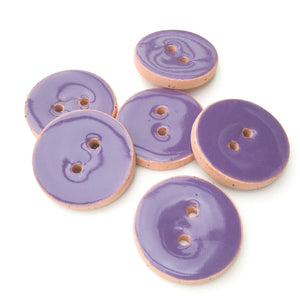 "True Purple Ceramic Buttons - Purple Clay Buttons - 7/8"" - 6 Pack"