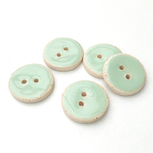 Light Aqua Blue Ceramic Buttons - Blue-Green Clay Buttons - 3/4