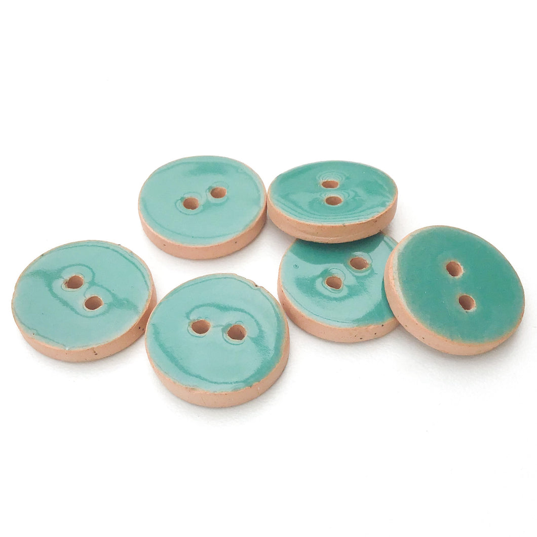 Turquoise Blue Ceramic Buttons - Blue-Green Clay Buttons - 3/4