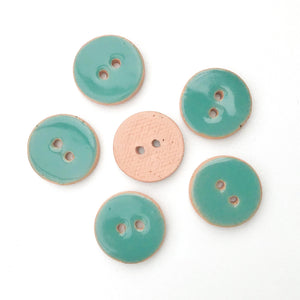 "Turquoise Blue Ceramic Buttons - Blue-Green Clay Buttons - 3/4"" - 6 Pack"