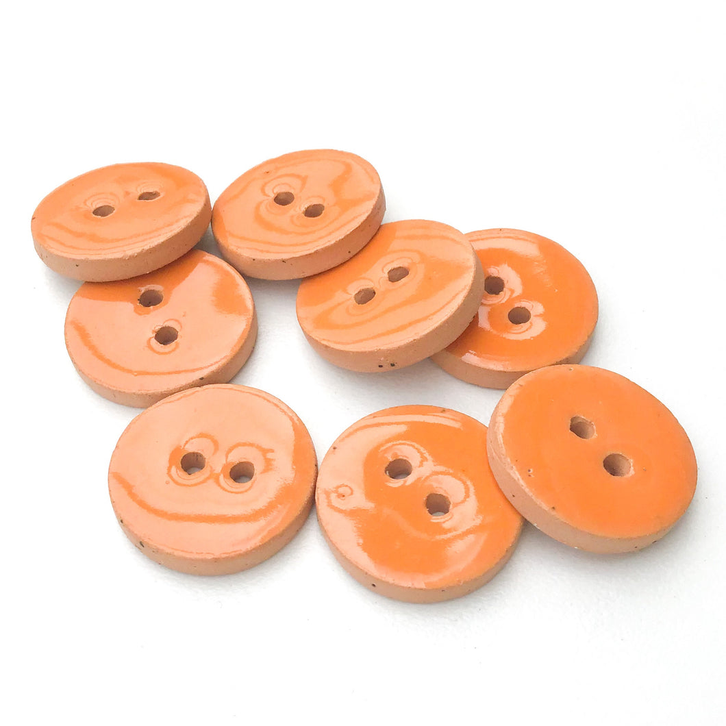 Peachy Orange Ceramic Buttons - Orange Clay Buttons - 3/4