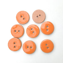 "Load image into Gallery viewer, Peachy Orange Ceramic Buttons - Orange Clay Buttons - 3/4"" - 8 Pack"