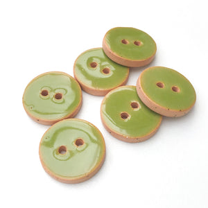 "Olive Green Ceramic Buttons - Green Clay Buttons - 3/4"" - 6 Pack"