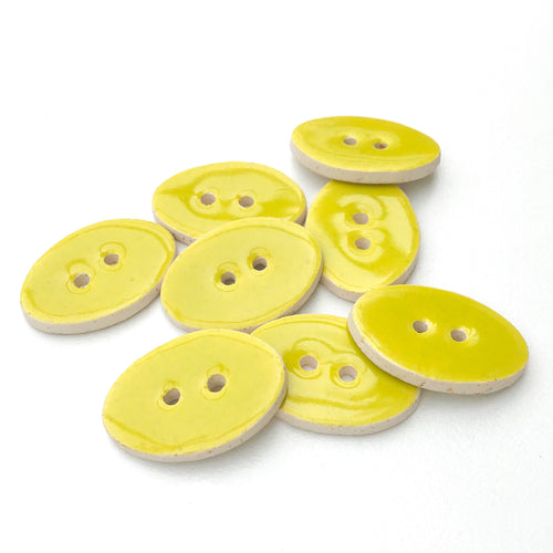 Oval Ceramic Buttons - Natural Clay Buttons - Chartreuse - 5/8