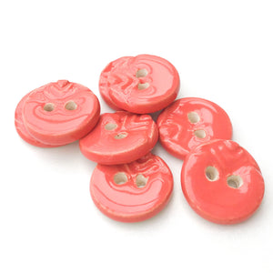 "Bright Coral Ceramic Buttons with Stamped Pattern - Decorative  Clay Buttons - 3/4"" - 8 Pack"