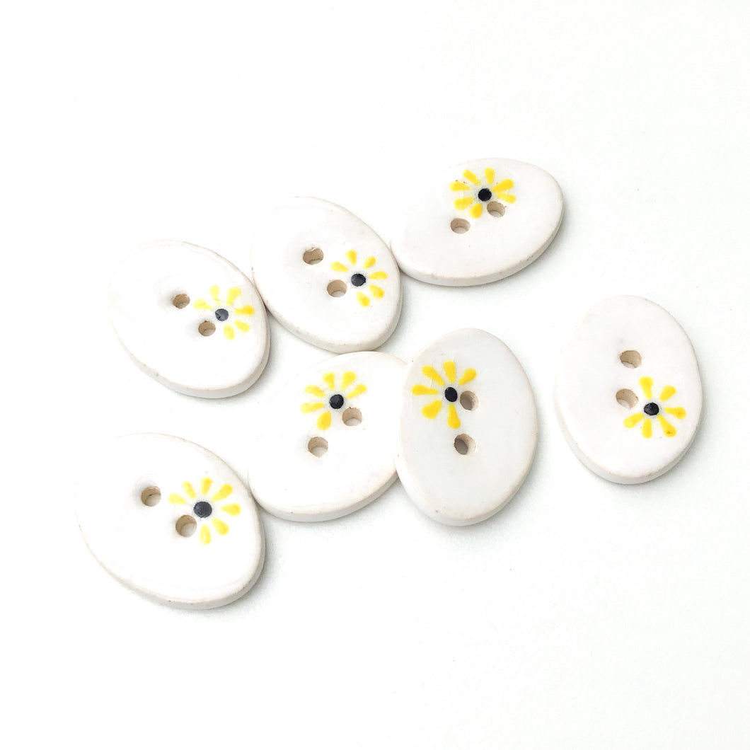 Decorative Oval Ceramic Buttons - White Clay Buttons with Yellow Flowers - 5/8