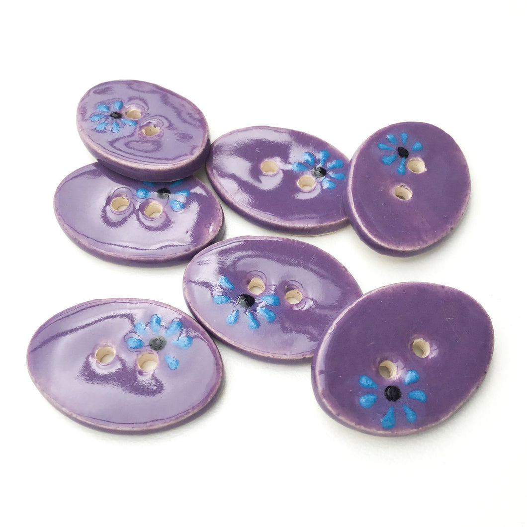 Decorative Oval Ceramic Buttons - Purple Clay Buttons with Blue + Black Flowers - 5/8