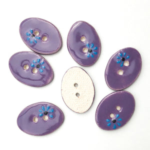 "Decorative Oval Ceramic Buttons - Purple Clay Buttons with Blue + Black Flowers - 5/8"" x 7/8"" - 7 Pack (ws-74)"