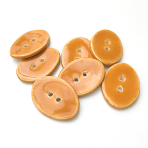 "Oval Ceramic Buttons - Caramel Brown Clay Buttons - 5/8"" x 7/8"" - 7 Pack"