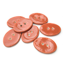 "Load image into Gallery viewer, Oval Ceramic Buttons - Caramel Brown Clay Buttons - 5/8"" x 7/8"" - 7 Pack"
