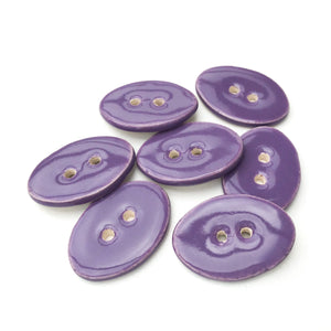 "Oval Ceramic Buttons - Lavender Purple Clay Buttons - 5/8"" x 7/8"" - 7 Pack"