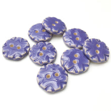 "Load image into Gallery viewer, Purple Ceramic Buttons with Stamped Pattern - Decorative Clay Buttons - 3/4"" - 8 Pack"