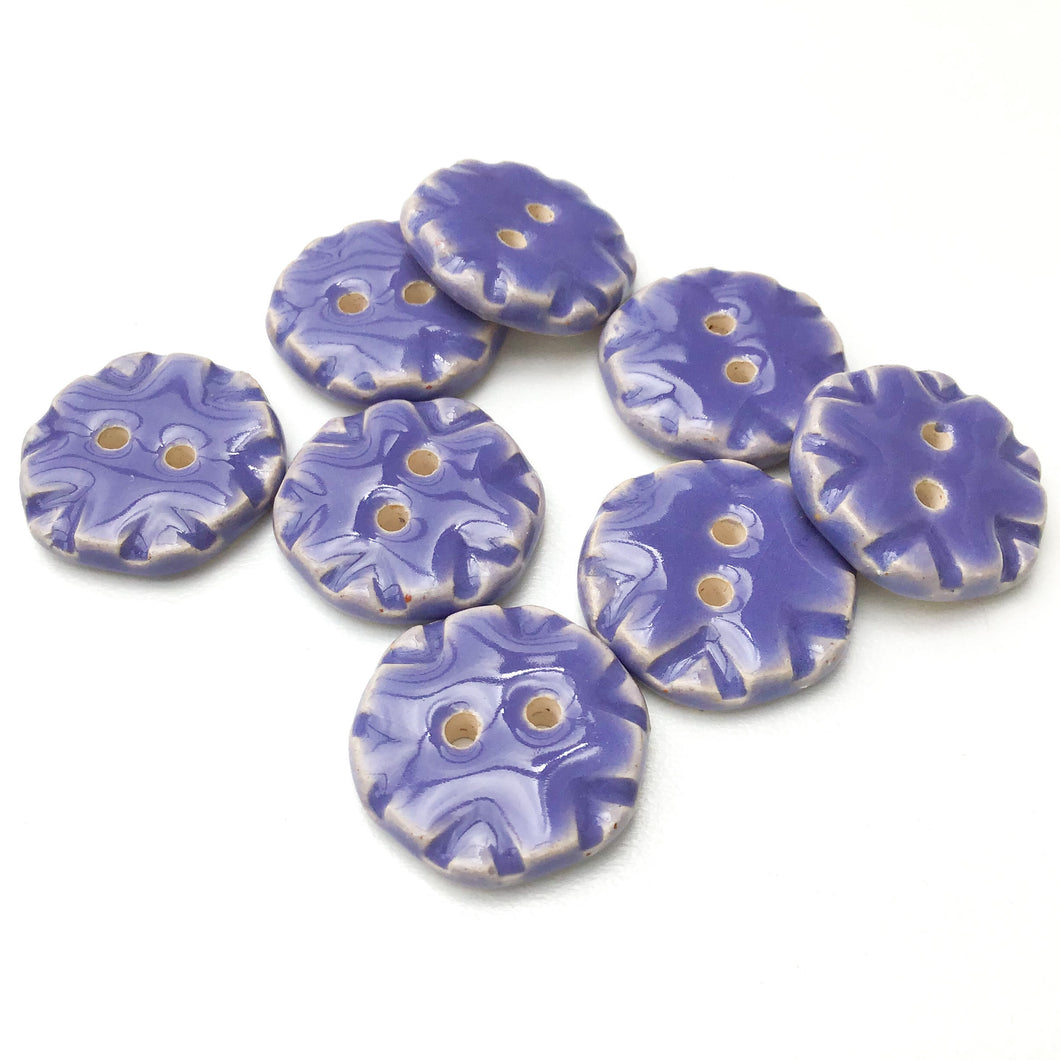 Purple Ceramic Buttons with Stamped Pattern - Decorative Clay Buttons - 3/4