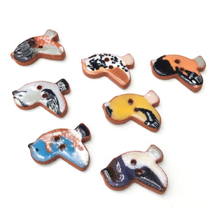 "Ceramic Songbird Buttons - Handpainted Clay Bird Buttons - 3/4"" x 7/8"""