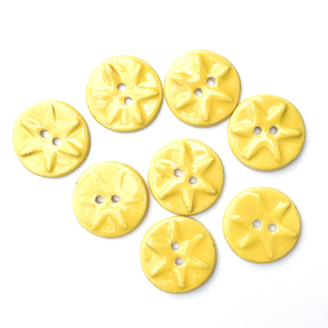 Yellow Ceramic Buttons with Starfish Pattern - Decorative Clay Buttons - 3/4