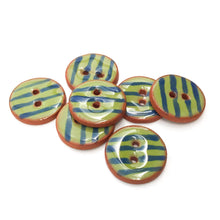 "Load image into Gallery viewer, Olive Green Ceramic Buttons - Army Green Clay Buttons with Blue Stripes - 3/4"" - 7 Pack"