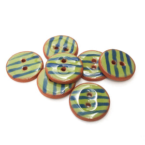 "Olive Green Ceramic Buttons - Army Green Clay Buttons with Blue Stripes - 3/4"" - 7 Pack"