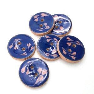 "Blue Ceramic Buttons with Pink Floral Design - Blue + Pink Clay Buttons - 7/8"" - 6 Pack"