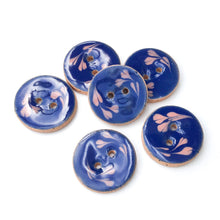 "Load image into Gallery viewer, Blue Ceramic Buttons with Pink Floral Design - Blue + Pink Clay Buttons - 7/8"" - 6 Pack"