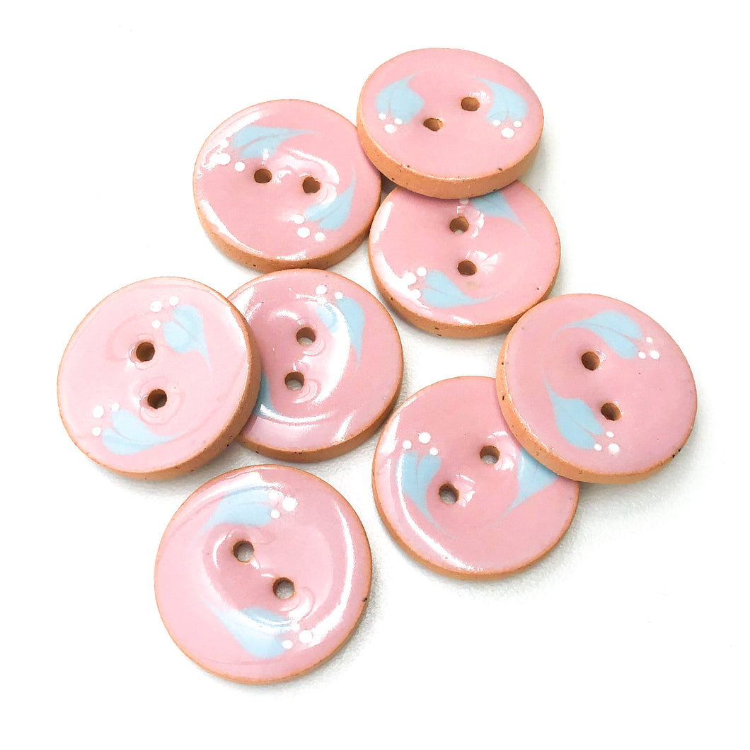 Pink Ceramic Buttons with Sky Blue Floral Design - Pink Clay Buttons - 7/8