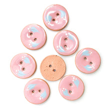 Load image into Gallery viewer, Pink Ceramic Buttons with Sky Blue Floral Design - Pink Clay Buttons - 7/8""