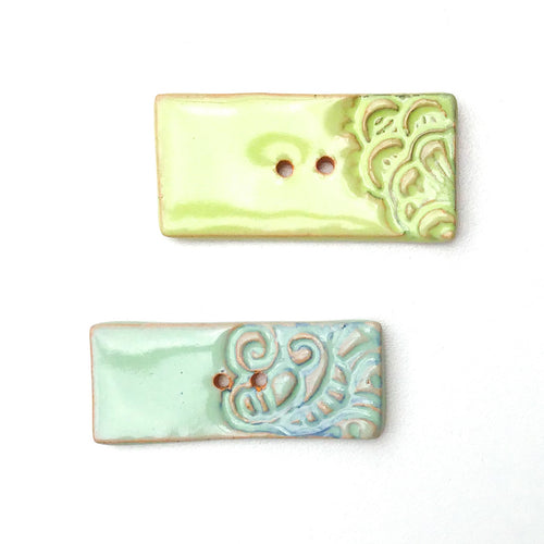 Decorative Hand Stamped Ceramic Buttons - Long Rectangular Clay Buttons