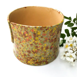 Color Burst Yarn Bowl - Sage Green, Orange, Brown & Yellow