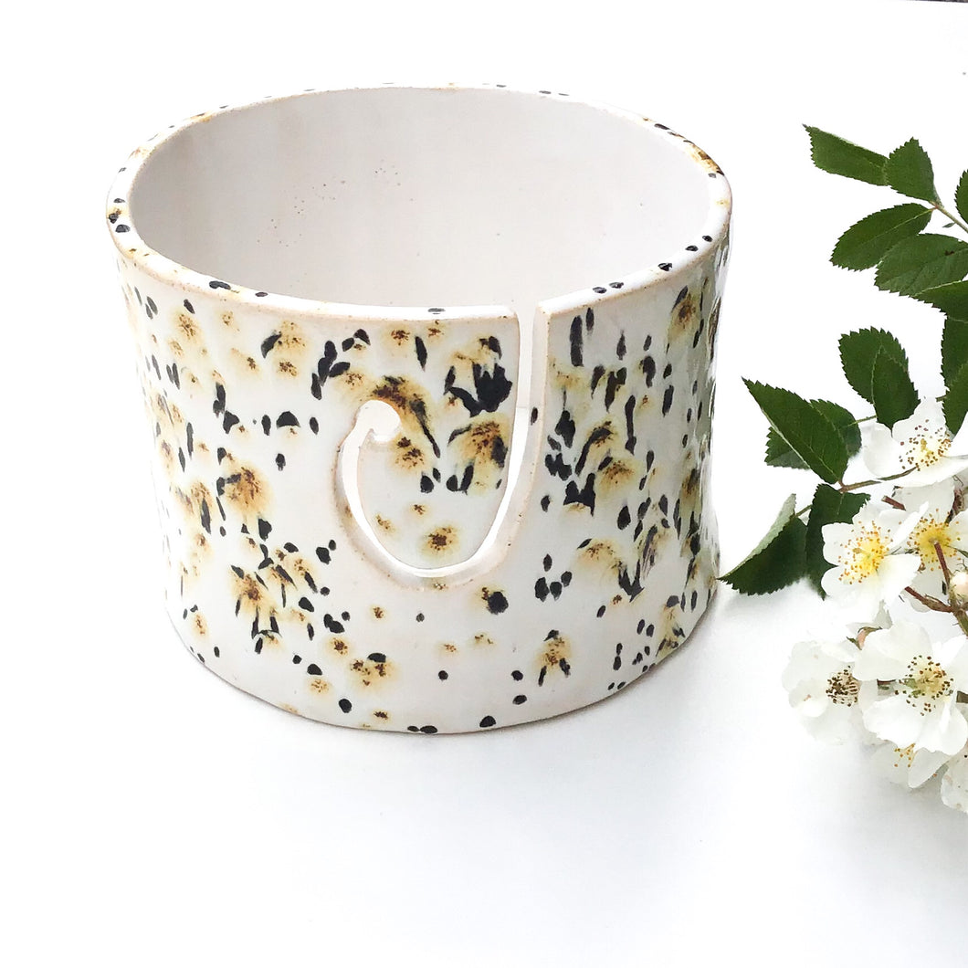 Color Burst Yarn Bowl - White with Golden Brown & Black Flecks - Handcrafted Ceramic Yarn Bowl