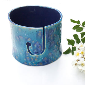 Color Burst Yarn Bowl - Turquoise/Teal with Lavender & Golden Brown Flecks - Handcrafted Ceramic Yarn Bowl